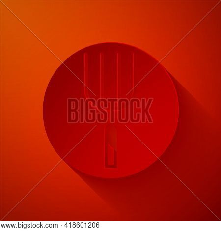 Paper Cut Garden Pitchfork Icon Isolated On Red Background. Garden Fork Sign. Tool For Horticulture,