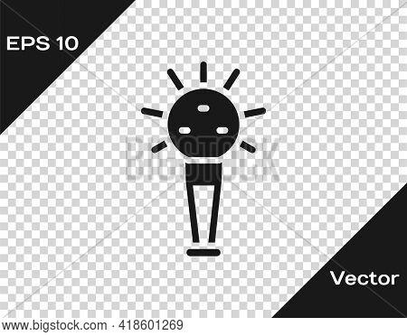 Black Mace, Symbol Of Ukrainian National Power Icon Isolated On Transparent Background. Traditional