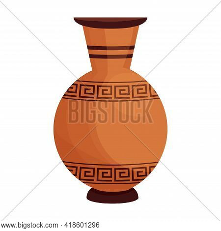 Clay Crockery, Earthenware Amphora With Greek Patterns In Cartoon Flat Style Isolated On White Backg