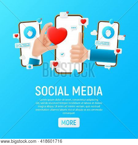 Social Media Concept Template. Mockup With Cartoon Hands, Smartphones And Symbols. Template Of Smart