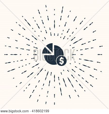 Grey Pie Chart Infographic And Dollar Symbol Icon Isolated On Beige Background. Diagram Chart Sign.