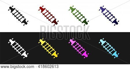 Set Bicycle Suspension Icon Isolated On Black And White Background. Vector