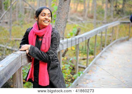 Indian Girl In Fall Season