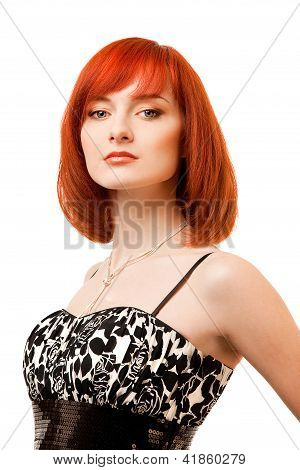 beautiful redhead woman in black and white dress