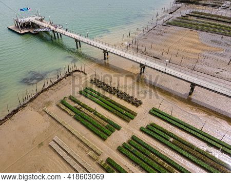 Aerial view of oyster parks in the bassin d'Arcachon, Gironde, France