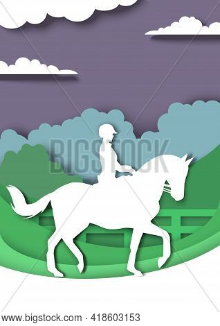 Dressage Horse And Rider Silhouettes, Vector Illustration In Paper Art Style. Equestrian Sport, Hors
