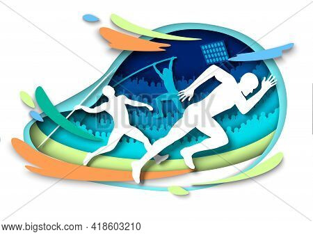 Athletics Sport Events. Athlete Silhouettes, Vector Illustration In Paper Art Style. Sprints. Pole V