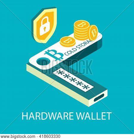 Hardware Cryptocurrency Wallet, Vector Isometric Illustration. Digital Money Storage. Offline Bitcoi