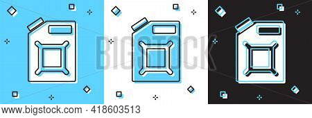 Set Canister For Gasoline Icon Isolated On Blue And White, Black Background. Diesel Gas Icon. Vector