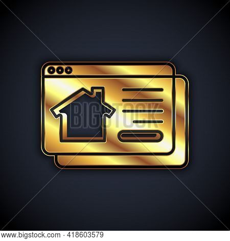 Gold Online Real Estate House In Browser Icon Isolated On Black Background. Home Loan Concept, Rent,