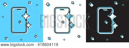 Set Glass Screen Protector For Smartphone Icon Isolated On Blue And White, Black Background. Protect