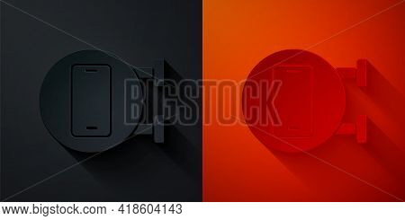 Paper Cut Phone Repair Service Icon Isolated On Black And Red Background. Adjusting, Service, Settin