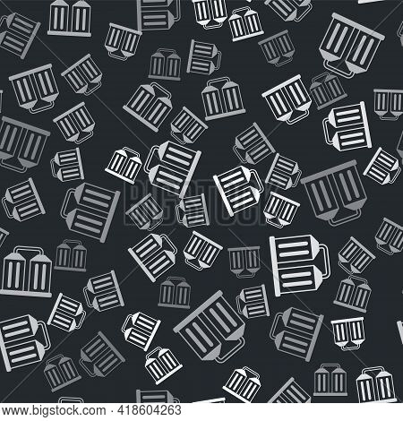 Grey Granary Icon Isolated Seamless Pattern On Black Background. Silo With Grain, Elevator, Granary,
