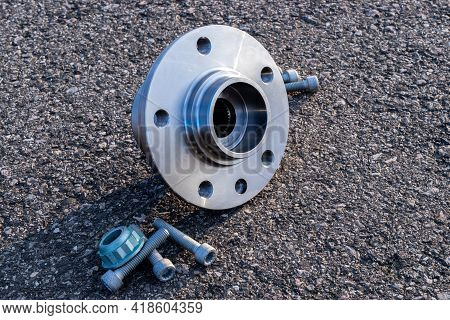 Car Construct. Set Of New Metal Car Part. Auto Motor Mechanic Spare Or Automotive Piece Isolated On