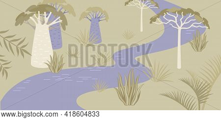 Savannah Landscape With River And Rare Trees. Vector Background In Flat Style
