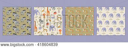 Set Of Seamless Textures With Cartoon Savanna Animals. Pattern With Zebras, Cheetahs, Elephants And