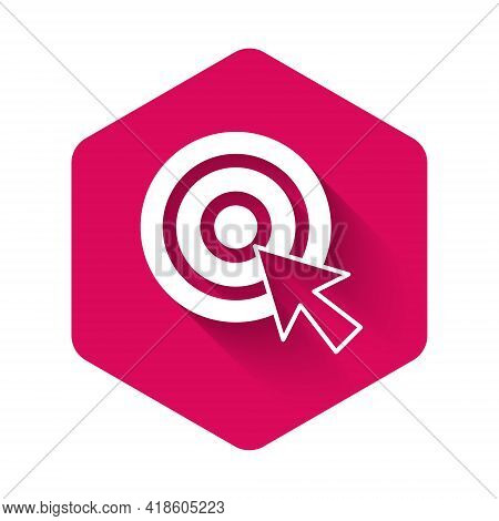 White Target With Arrow Icon Isolated With Long Shadow Background. Dart Board Sign. Archery Board Ic