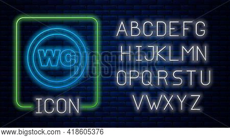 Glowing Neon Toilet Icon Isolated On Brick Wall Background. Wc Sign. Washroom. Neon Light Alphabet.