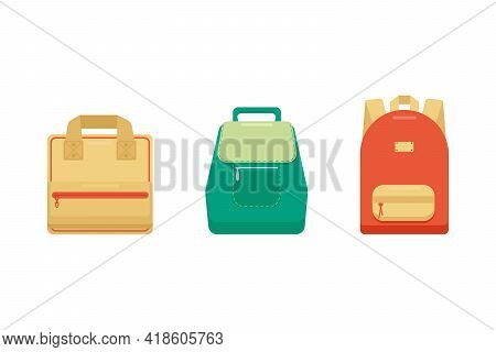 Set Of Stylish Colorful Women's Travel Bags-backpacks, Isolated On A White Background. Women's Bags