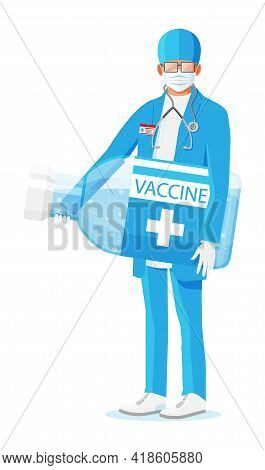 Male Doctor Holds Large Ampoule With Vaccine. Cartoon Doctor Holding Big Bottle Isolated On White. M