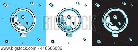 Set Road Sign Warning Avalanche Rockfall Landslides Icon Isolated On Blue And White, Black Backgroun