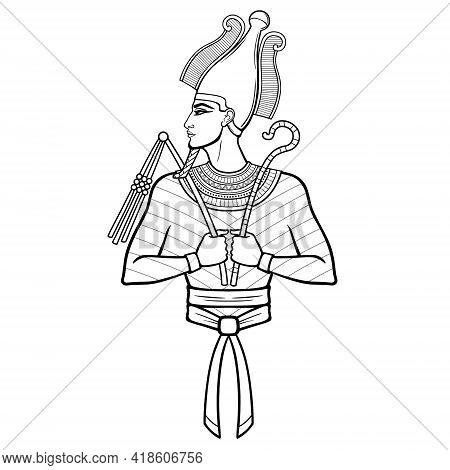 Animation Portrait Egyptian Man N The Crown Holds Symbols Of Power In His Hands. God Osiris. Profile
