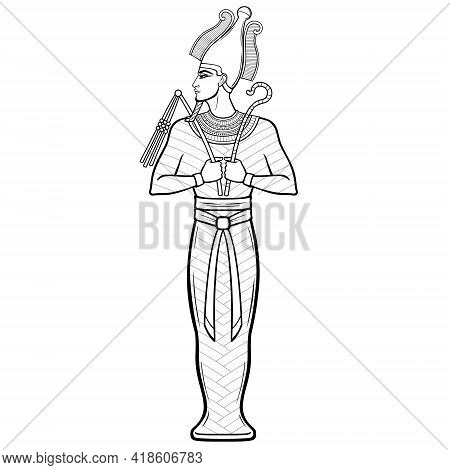 Animation Portrait Egyptian Man  In The Royal Scarf With Crossed Hands Holds Symbols Of Power. Vecto