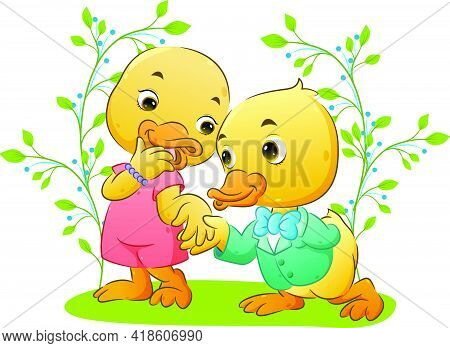 The Happy Cute Duck Couple Are Kneeling And Using The Good Suit And Dress In The Park Of Illustratio