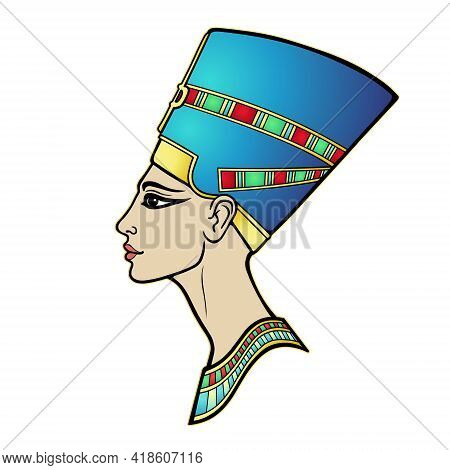 Animation Portrait Of Beautiful Egyptian Woman In The Crown. Goddess, Princess, Queen. Profile View.