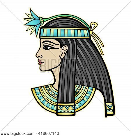 Animation Portrait Of Beautiful Egyptian Woman With Flower. Goddess, Princess. Profile View. Vector
