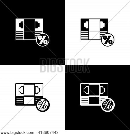 Set Money Percent Icon Isolated On Black And White Background. Percent Loyalty Wallet Sign. Vector