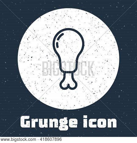 Grunge Line Chicken Leg Icon Isolated On Grey Background. Chicken Drumstick. Monochrome Vintage Draw