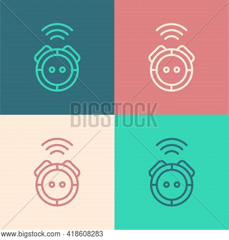 Pop Art Line Robot Vacuum Cleaner Icon Isolated On Color Background. Home Smart Appliance For Automa