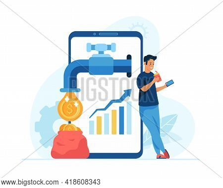 Passive Income Concept Flat Vector Illustration. Male Cartoon Character Businessman Standing Near Sm