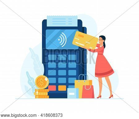 Contactless Payment Concept Flat Vector Illustration. Female Cartoon Character Customer Making Conta
