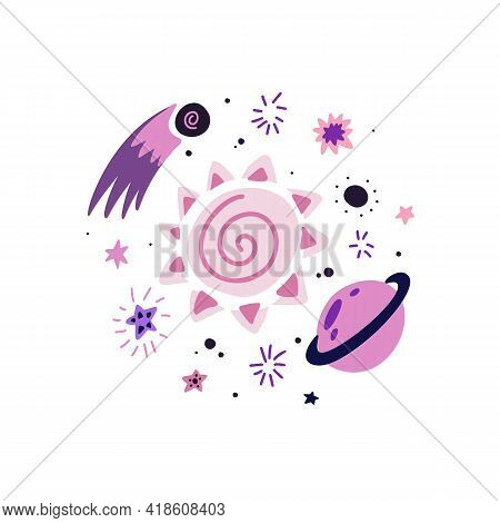 Childrens Illustration Of A Meteorite, Sun, Saturn, Stars And Curls On A White Background. Cosmic Lu