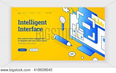 Intelligent Interface. Isometric Illustration Of Computer Monitor With Intelligent Interface Feature