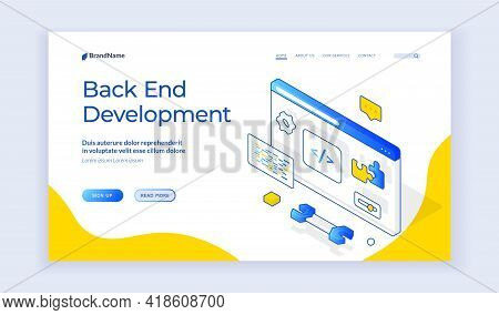 Back End Development. Design Of Vector Banner Of Contemporary Programming Web Resource Offering Help
