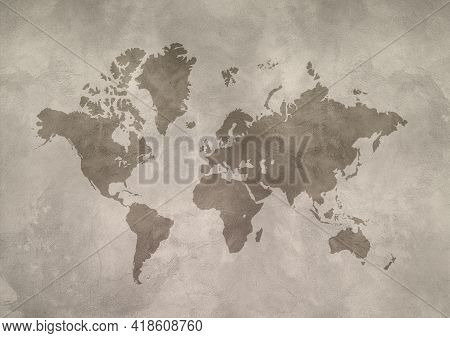 World Map Isolated On Concrete Wall Background