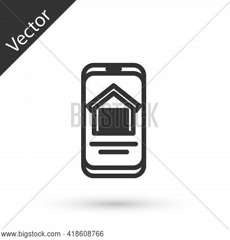 Grey Line Online Real Estate House On Smartphone Icon Isolated On White Background. Home Loan Concep