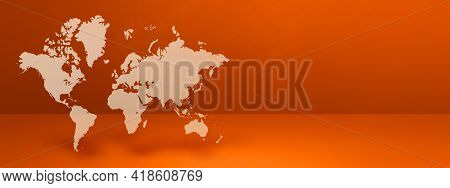 World Map Isolated On Orange Wall Background. 3d Illustration. Horizontal Banner
