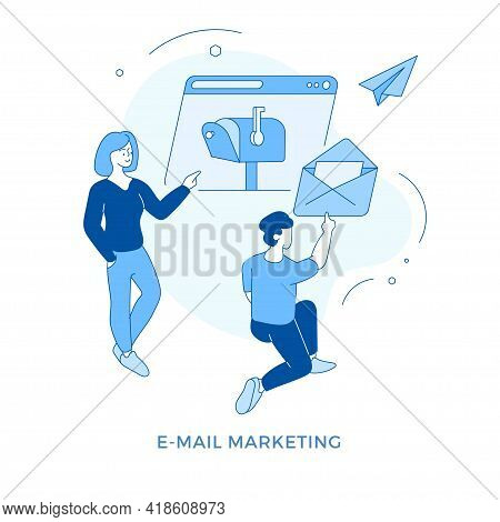 Linear Flat E-mail Marketing Concept Vector Illustration. Male And Female Cartoon Characters Sending