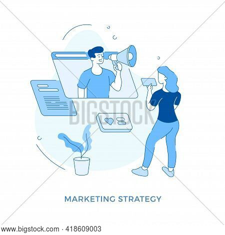 Linear Flat Marketing Strategy Concept Vector Illustration. Female Cartoon Character Watching Video