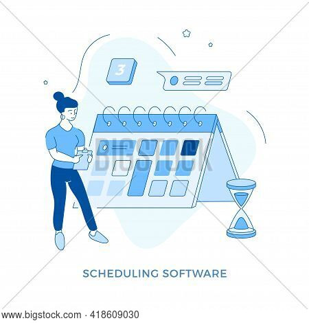 Linear Flat Scheduling Software Concept Vector Illustration. Female Cartoon Character Standing Near