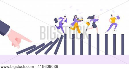 Domino Effect Or Business Cowardice Metaphor Vector Illustration Concept. Adult Young Business Peopl
