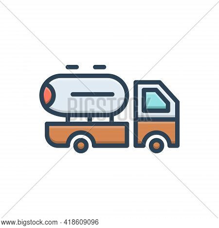 Color Illustration Icon For Supplier Oil Milk Transport Vehicle Supply Delivery Service Truck