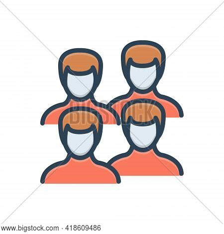 Color Illustration Icon For Men People  Fellow Human Adult Group Team