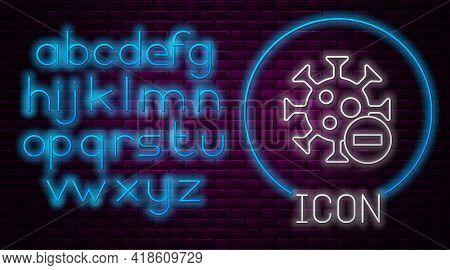 Glowing Neon Line Negative Virus Icon Isolated On Brick Wall Background. Corona Virus 2019-ncov. Bac