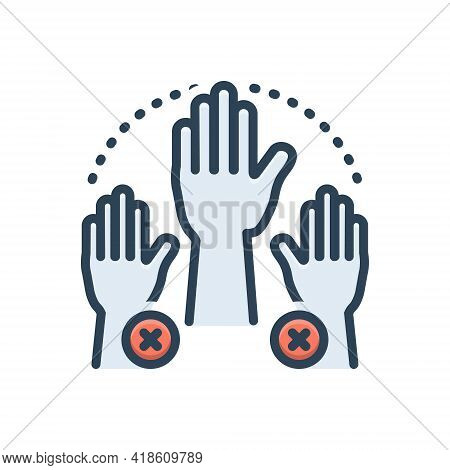 Color Illustration Icon For Absenteeism Absent Missing Hand