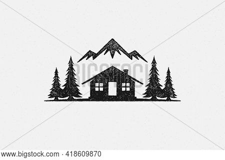 Silhouette Shack Hut Located Near Coniferous Forest And Mountain Ridge In Countryside Hand Drawn Sta